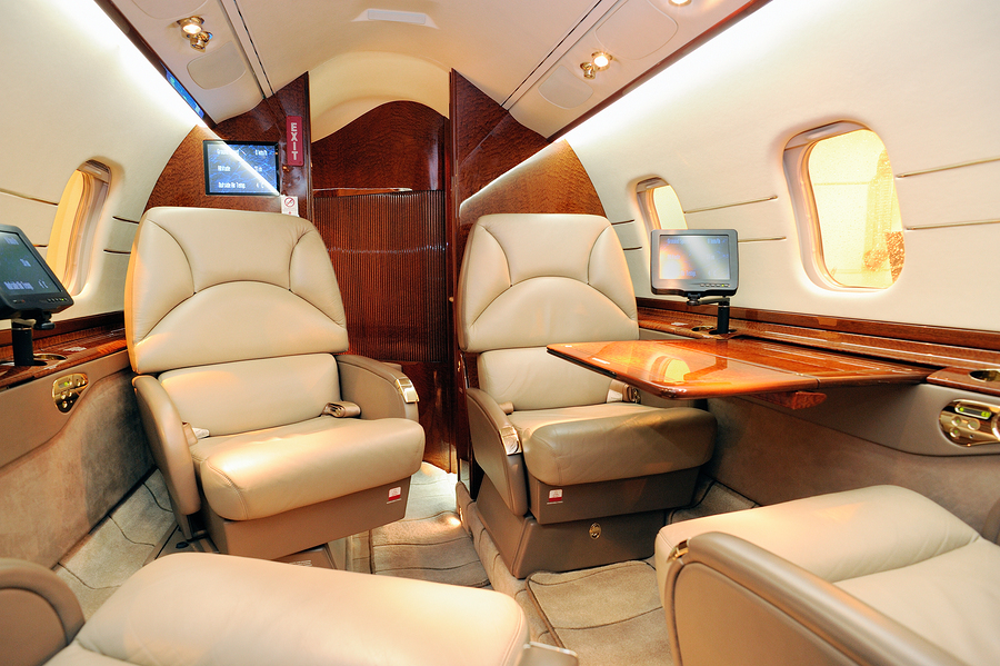 Interior of a luxurious jet airplane .